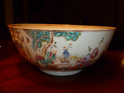 Antique Chinese Famille Rose Punch Bowl,18th C,Qianlong