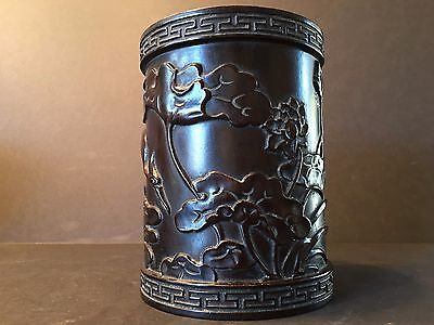 Antique Chinese large Zitan Brush Pot (Bitong), Early Qing