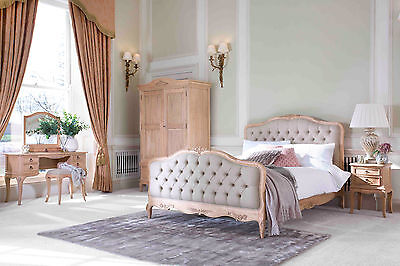 Avignon French Beige Upholstered Wood Bed (Hand Painted~Any Colour~Shabby Chic)