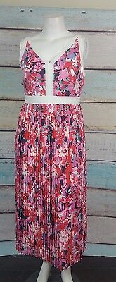 Katherine Kelly Pink White Red Blue Floral Pleated Empire Waist Maxi Dress Sz 12