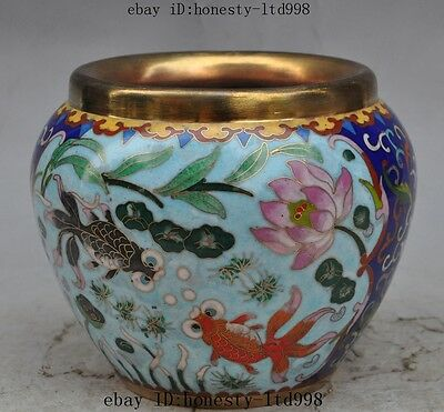 "6""chinese palace bronze Cloisonne fish Goldfish lotus flower Tanks Crock pot jar"