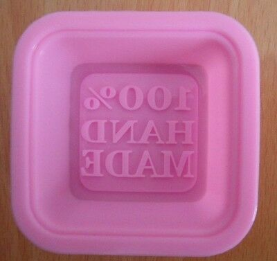 """100% Hand Made"" Letters Shape Silicone Mold Forming Cake Soap Jelly Decoration"