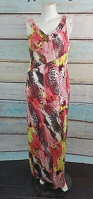 Peter Nygard Red Yellow Black White Abstract Print Maxi Dress Sz 14