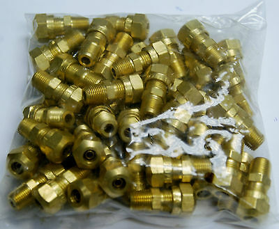 Brass Fittings DOT Air Brake Male Connector, Tube OD 1/4, Male Pipe 1/8, Qty 50