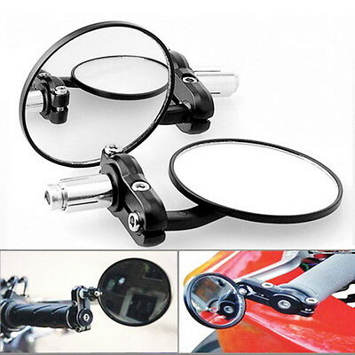 """N 1Pair Motorcycle Round 7/8"""" Handle Bar End Foldable Rear View Side Mirrors LN"""
