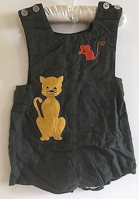 Vintage Boys ULTRA For The Very Finest Shorts Overalls Lined Cat Mouse Applique