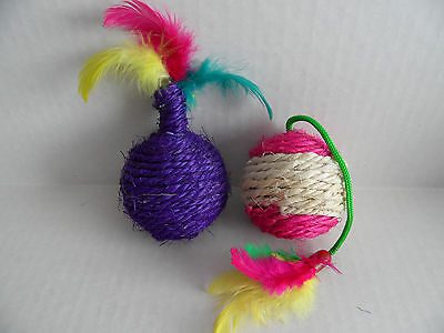 Cat Kitten Sisal Ball with Feathers and Rattle x 2.