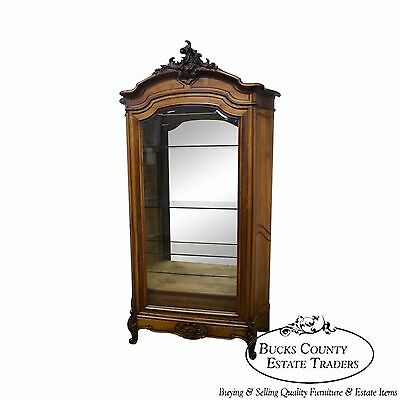 Antique 19th Century Frame Louis XV Large Walnut Curio Cabinet Armoire