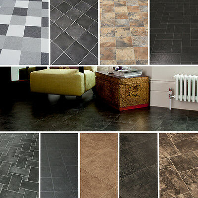 2/3/4M Wide High Quality Vinyl Flooring, Dark Tiles Designs LINO NEW ANTI SLIP