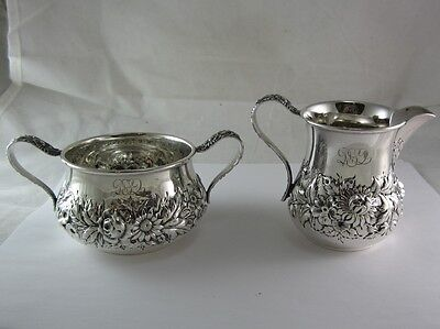 Repousse-Partial Chased (Kirk Stieff) Sterling Mini Creamer/open Sugar Set #415
