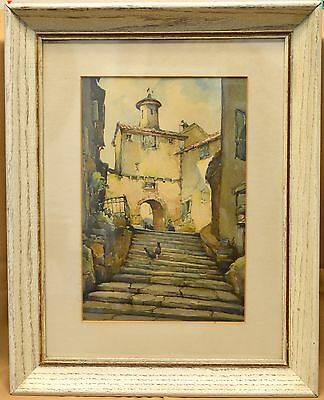 Decorative Signed Vintage Architectural Lithograph in Antique Wooden Frame