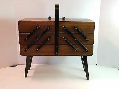 VTG Wood Accordion Sewing Notion Storage Box Dovetail Folds Poland Folding Chest