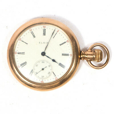 Antique Elgin Railroad Pocket Watch Gold Plated 2""