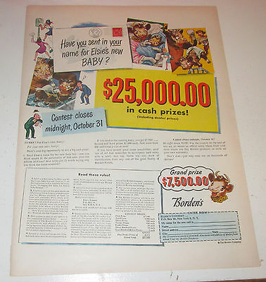 1947 original ad Borden's Dairy Products Contest to Name Elsie's Baby $25,000