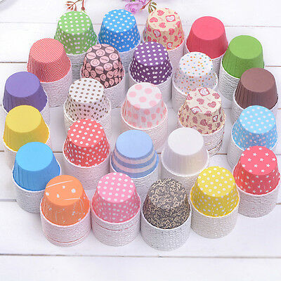 Random 100 pcs Cupcake Liner Baking Cups Mold Paper Muffin Cases Cake Tool  FO