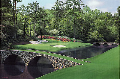 "Matted Augusta National golf print ""12th Hole"" MASTERS - 11 x 14 - free shipping"