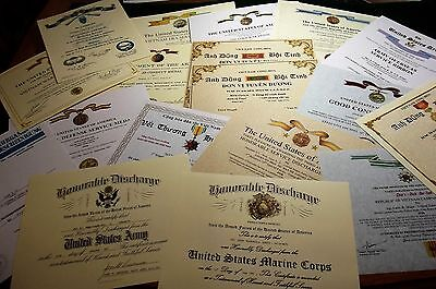 Pick 4 Military Documents /Certificates for only $44.95 Army Navy USMC USAF USCG
