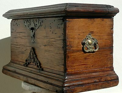 Antique Oak Alms Box with Ironwork ornaments - 18/19th Century Spain - Stunning!
