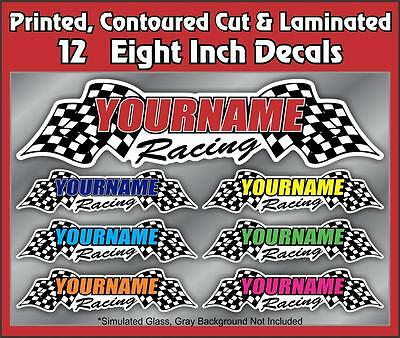 """80/"""" x 24/"""" Checkered TRAILER Rear Side Graphics Custom YOUR NAME Racing Enclosed"""