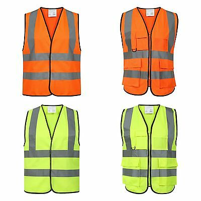 Bright Yellow Orange Work Workers Safety Vest Clothing High Visibility Wear