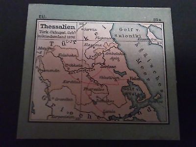 Thessaly Greece 1898 Greek Miniture Map Rare