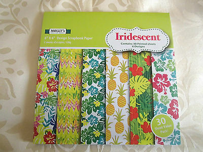 """Pack of 30 sheets of MOLLYS 6 inch x6 inch Scrapbook paper """"IRIDESCENT"""" designs"""