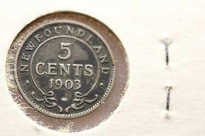 1903 New Foundland Five Cents 92.5% Silver  (962)