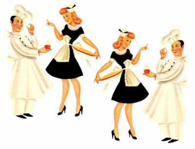 Vintage Image Large Shabby French Chef and Waitress Waterslide Decals KI363