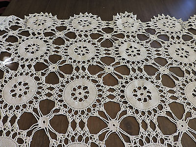 Vintage Antique Collectible Crocheted Cotton White Tablecloth Medallion 66 x 102