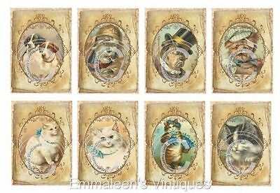 Vintage Image Victorian Grunge Dogs Or Cats Waterslide Decals AN727 U PICK