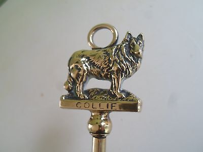 Vintage Rustic Brass Toasting Fork + Handle With COLLIE Rough Collie Lassie Dog
