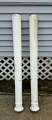 "Architectural Salvaged Fluted Solid Pine Antique Columns Post Pair 55"" X 5"""