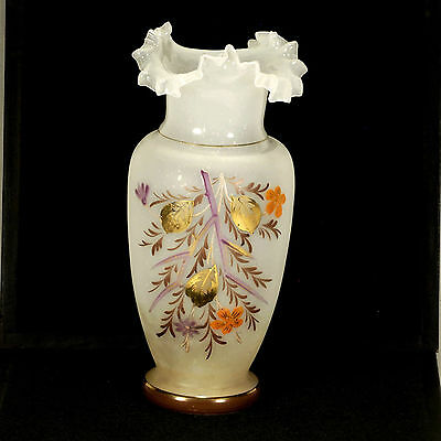 Antique Bristol Blown Glass Ruffle Top Vase Hand Painted Floral Accents