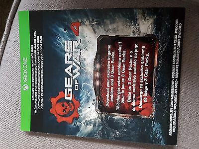 Xbox One Gears Of War 4 In Game Emblem and 3 Gear Packs DLC Download Code New