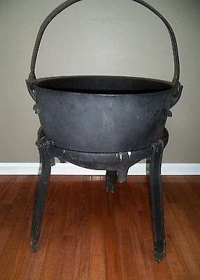 ANTIQUE Primitive BIG 10 Gallon CAST IRON HEarth KETTLE W/WROUGHT Iron Stand