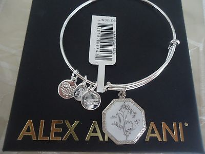 Alex and Ani SWEET PEA FORTUNE'S BLISS Charm Bangle Shiny Silver NWT Card & Box