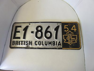 British Columbia Car License Plate 1952 with 1954 Totem Pole Tab Tag RARE