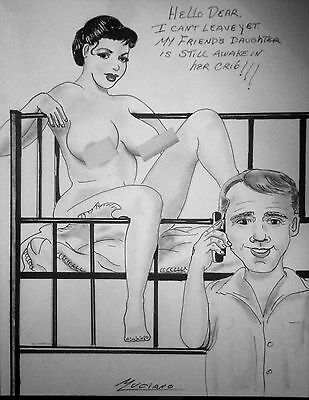 """Luciano Original Pen & Charcoal Husband tells Wife of """"the Baby"""" in the Crib"""