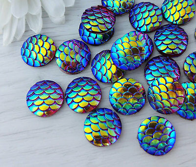 10x Red Blue Mermaid Scales Cabochons Mythical Dragon Skin 12mm Cabs FBC105