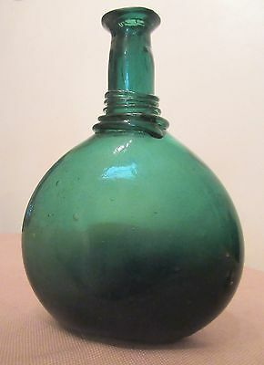 thick antique 1700's hand blown green glass Persian camel saddle flask bottle