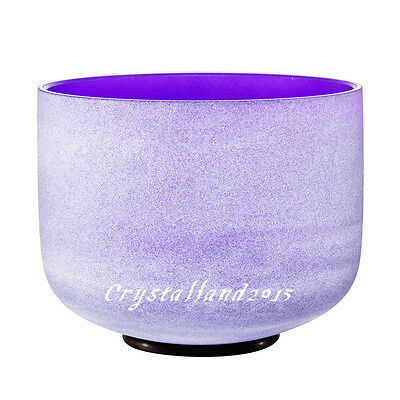 """Purple Perfect Pitch B Crown Chakra Frosted Quartz Crystal Singing Bowl 12"""""""