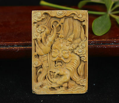 China Natural Huanhuali Wood Boxwood hand carved loong dragon Pendant Amulet X