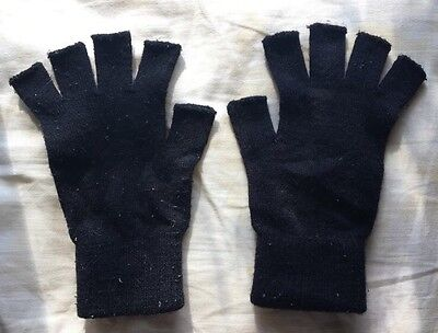Unisex Black Fingerless Warm Gloves Winter Accessories Grunge Emo