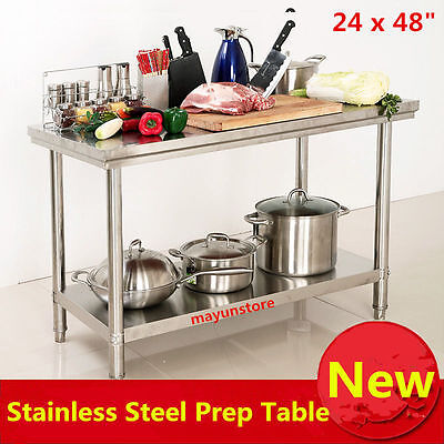"""24"""" x 48"""" Commercial Double Layers Stainless Steel Work Food Prep Table Kitchen"""