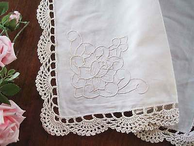 Lovely Rose Embroidery Handmade Crochet Lace Ivory Cotton Napkin