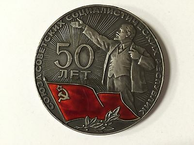 Soviet Russian Medal Table 50 YEARS of USSR VINTAGE 1922-1972 STERLING SILVER