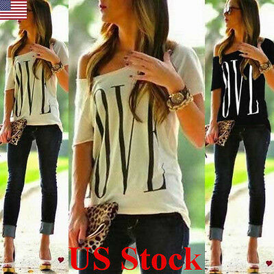 US Womens Summer Letter Tops Loose One Shoulder Casual Shirts T-shirt Blouse Top