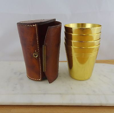 Vintage Retro Hickok Set Of 4 Anodised Gold Picnic Travel Cups in Leather Case