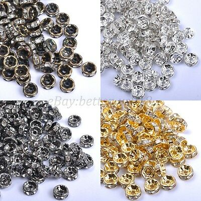 100pcs GOLD & SILVER & BRONZE , Czech Crystal Rhinestone Rondelle Spacer 8MM
