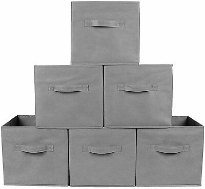 6x Foldable Storage Bin Box Closet Organizer Toy Cube Magazine Container Gray
